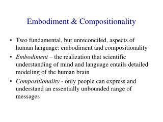 Embodiment & Compositionality