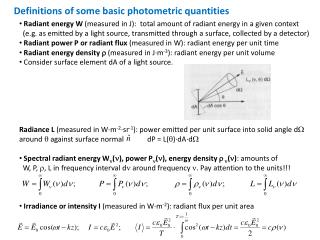 Definitions of some basic photometric quantities