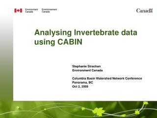 Analysing Invertebrate data using CABIN