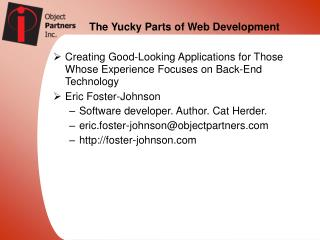 The Yucky Parts of Web Development