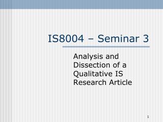 IS8004  – Seminar 3