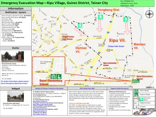 Emergency Evacuation Map—Xipu Village, Guiren District, Tainan City