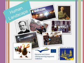 Logos projet, Europe, lycée nom du thème  Human landscapes + les parties en photos