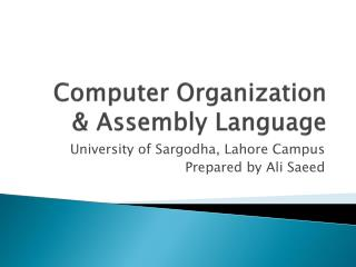 Computer Organization & Assembly Language