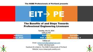 Devrelle  Dumas, EIT Corey A. Frazier, Ph.D., PE NSBE Portland Metro Professionals