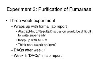 Experiment 3: Purification of Fumarase