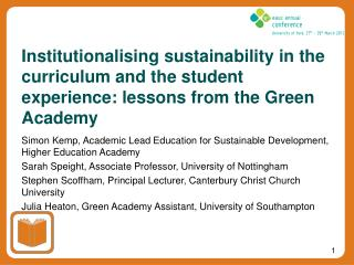 Simon Kemp, Academic Lead Education for Sustainable Development, Higher Education Academy