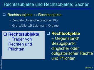 Rechtssubjekte und Rechtsobjekte: Sachen
