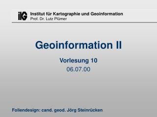 Geoinformation II
