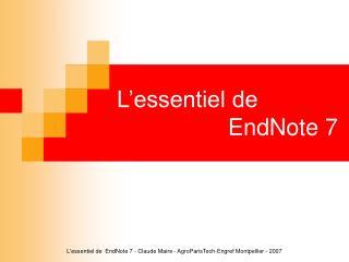 L'essentiel de   EndNote 7