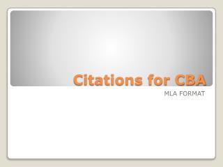 Citations for CBA