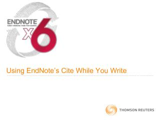 Using EndNote's Cite While You Write