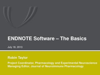ENDNOTE Software – The Basics