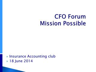 CFO Forum   Mission Possible