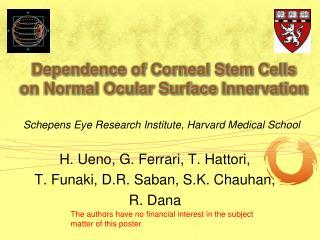 Dependence of Corneal Stem Cells on Normal Ocular Surface  Innervation
