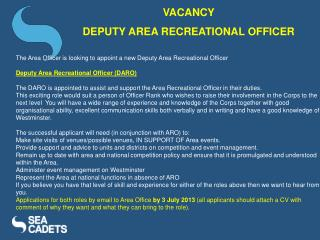 VACANCY  DEPUTY AREA RECREATIONAL OFFICER