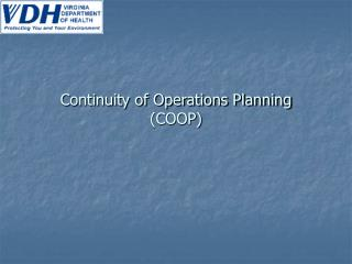 Continuity of Operations Planning COOP