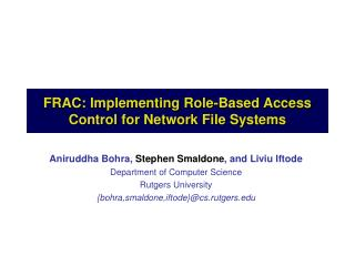 FRAC: Implementing Role-Based Access Control for Network File Systems