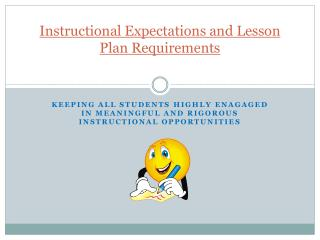 Instructional Expectations and Lesson  Plan  Requirements