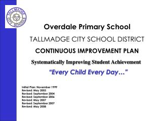 Overdale Primary School TALLMADGE CITY SCHOOL DISTRICT CONTINUOUS IMPROVEMENT PLAN