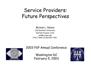 Service Providers:  Future Perspectives