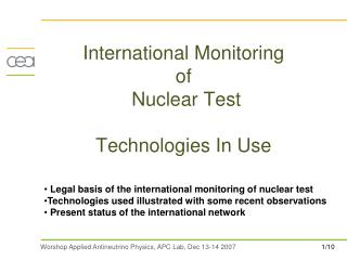 International Monitoring  of  Nuclear Test  Technologies In Use