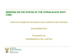 BRIEFING ON THE STATUS OF THE CITRUS BLACK SPOT (CBS)