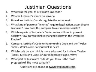 Justinian Questions