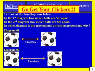 1) Look at the two diagrams below.  In the 1 st  diagram two soccer balls are 5m apart.