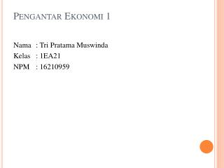 Pengantar Ekonomi  1