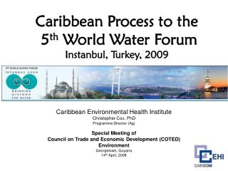 Caribbean Process to the  5 th  World Water Forum Instanbul, Turkey, 2009