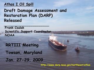 Athos I Oil Spill Draft Damage Assessment and Restoration Plan (DARP) Released