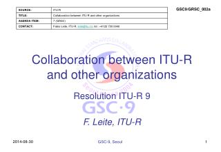 Collaboration between ITU-R and other organizations