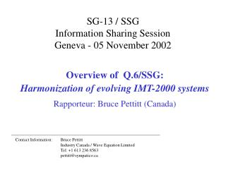 SG-13 / SSG  Information Sharing Session Geneva - 05 November 2002