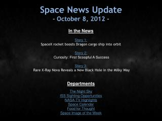 Space News Update - October 8, 2012 -