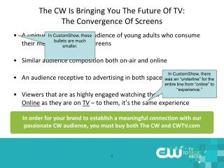 The CW Is Bringing You The Future Of TV:  The Convergence Of Screens