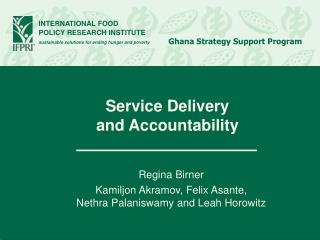Service Delivery  and Accountability