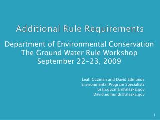 Additional Rule Requirements