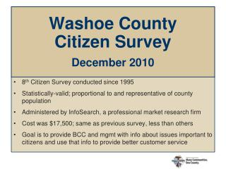 Washoe County  Citizen Survey  December 2010