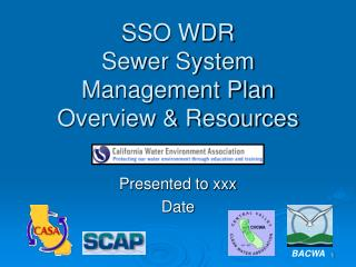 SSO WDR Sewer System Management Plan Overview & Resources
