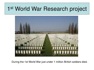 1 st  World War Research project