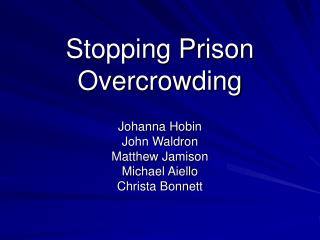 Stopping Prison Overcrowding