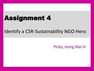 Assignment 4  Identify a CSR-Sustainability NGO Hero