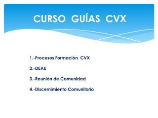 1.-Procesos Formación  CVX 2.- DEAE 3.-Reunión de Comunidad 4.-Discernimiento Comunitario