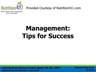 Management: Tips for Success