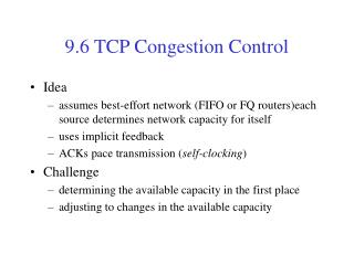 9.6 TCP Congestion Control