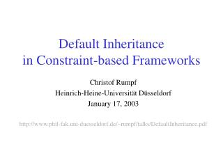 Default Inheritance  in Constraint-based Frameworks