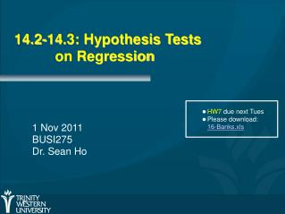 14.2-14.3: Hypothesis Tests on Regression