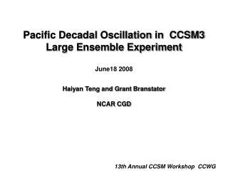 13th Annual CCSM Workshop  CCWG