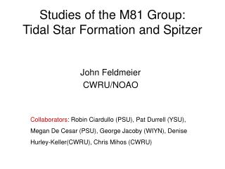 Studies of the M81 Group:  Tidal Star Formation and Spitzer